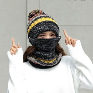cd997aee5c3c4 Accessories - Women Knit Beanie Hat with Neck Warmer   Mask